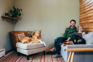 James & Kyra at home with their dogs (photo credit: Christy Cassano-Meyer)