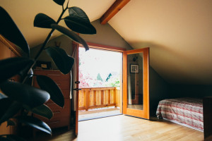 French doors from the loft open onto the balcony (photo credit: Christy Cassano-Meyer)